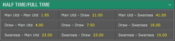 bet365 Half Time/Full Time