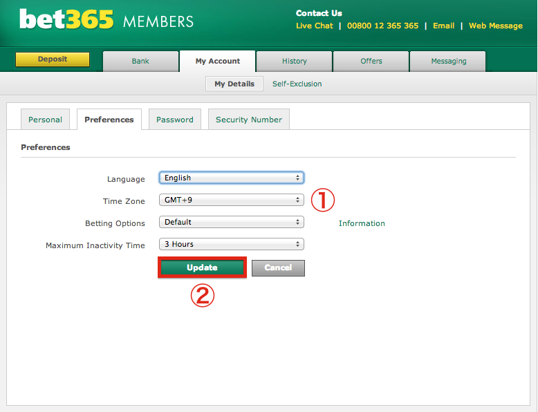 bet365 Preferences