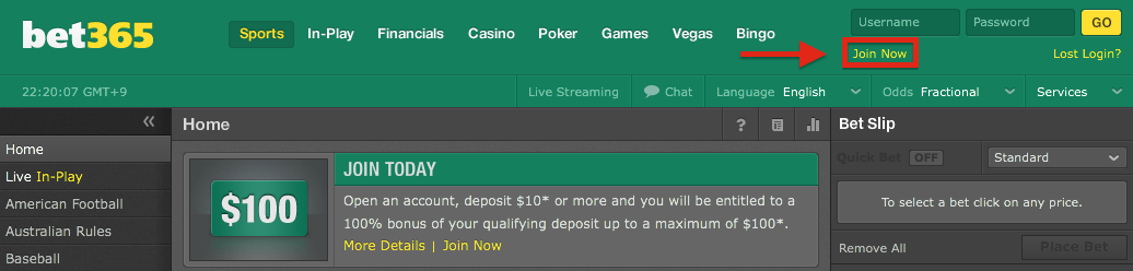 bet365 language change