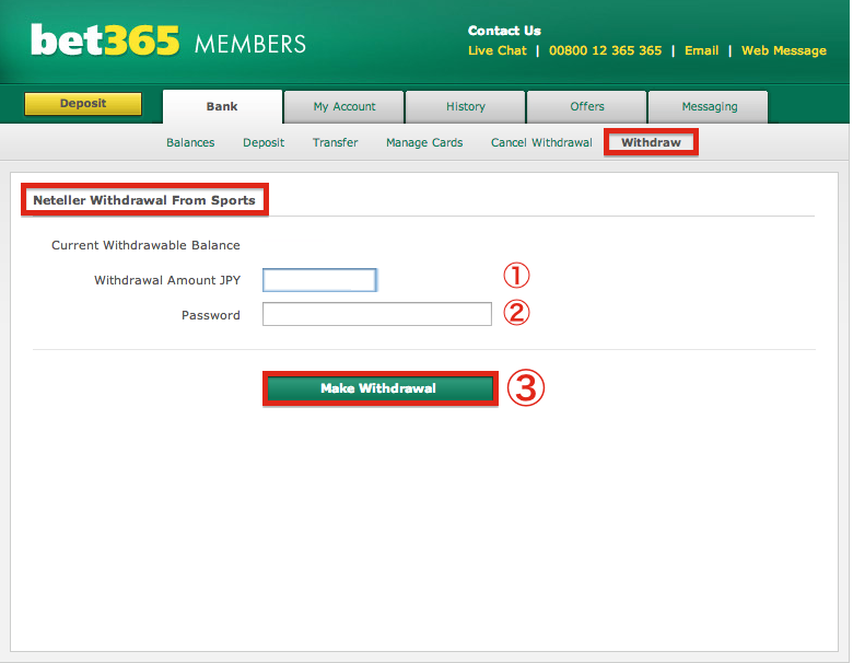 bet365 NETELLER Withdrawal