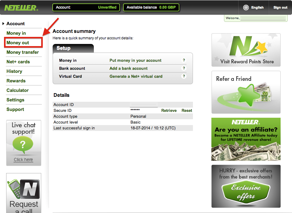 neteller withdrawal fees