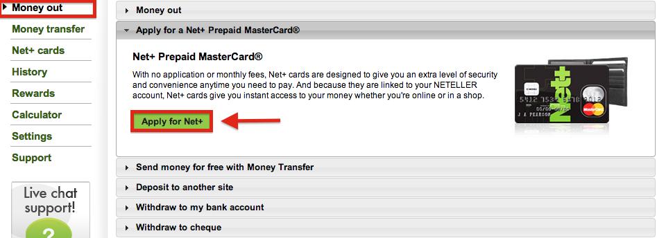 NETELLER Penarikan - Opsi penarikan melalui MasterCard Prabayar Net+