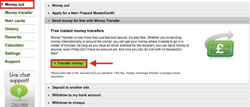 NETELLER Withdrawal Money Transfer