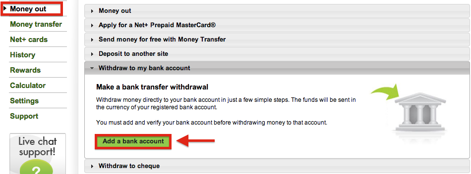 NETELLER Withdrawal Bank Transfer