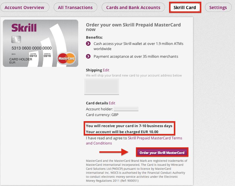 Skrill MasterCard Order