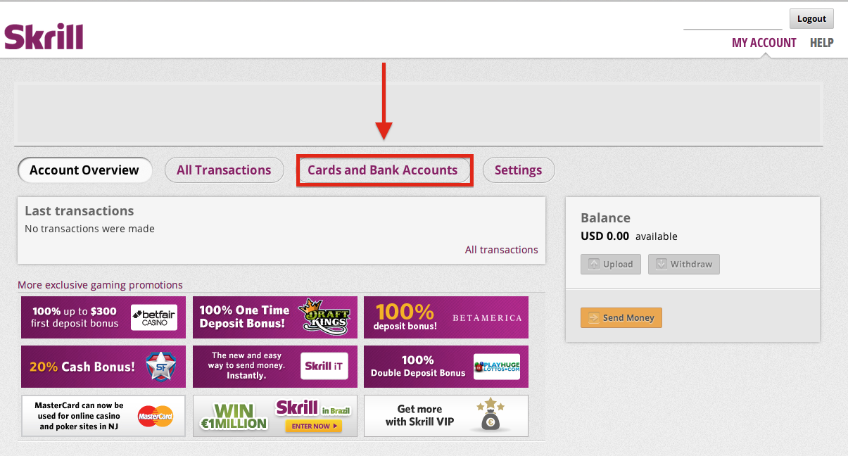 Skrill Bank Account
