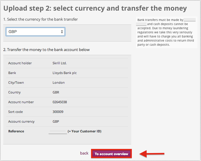 Skrill Deposit Bank Transfer