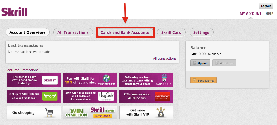 Skrill Cards and Bank Accounts