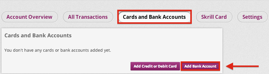 Skrill Add a Bank Account