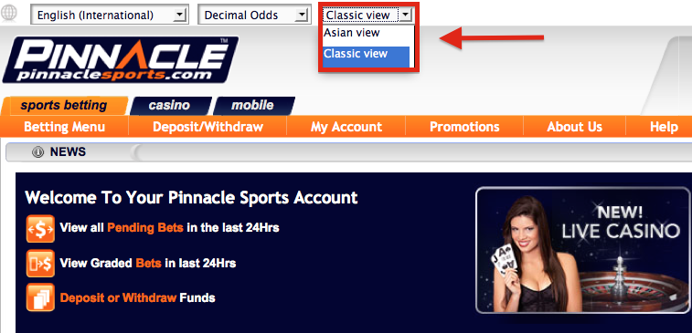 Pinnacle Sports Betting Menu: Classic View/Asian View