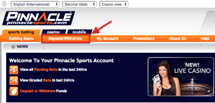 Pinnacle Sports Deposit