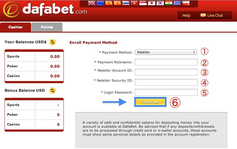 Dafabet NETELLER Deposit