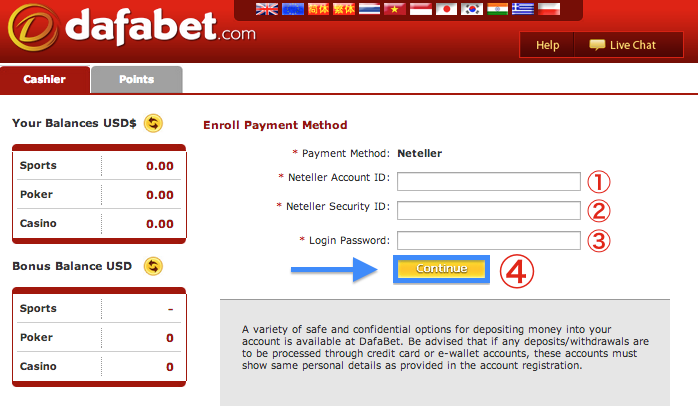 Dafabet NETELLER Withdrawal