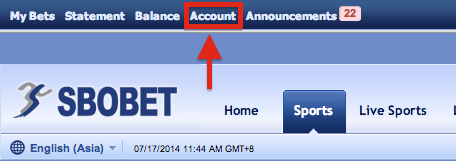 SBOBET Asia Menu Account