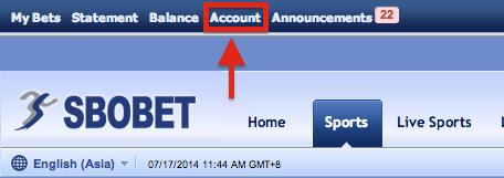 SBOBET Asia Menu Account