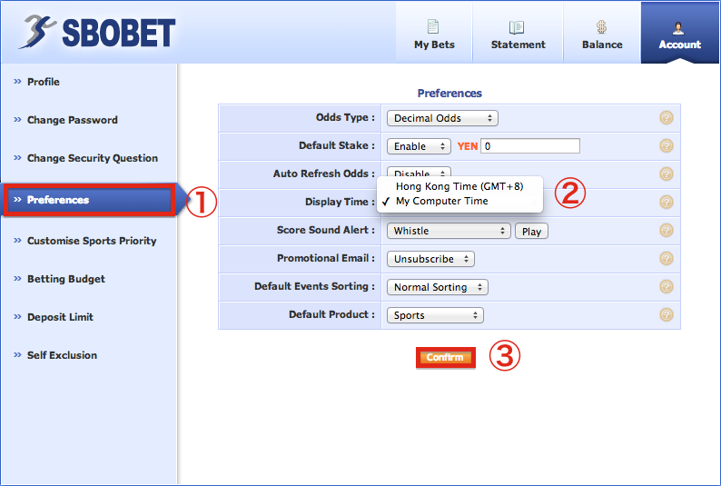 SBOBET Europe Menu Preferences