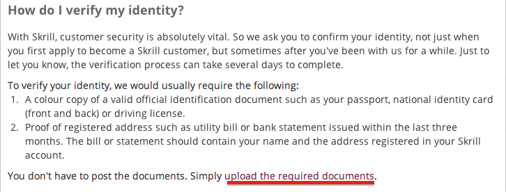 Skrill Account Verification Document Upload