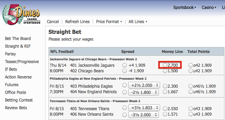 5Dimes Straight Bet Moneyline