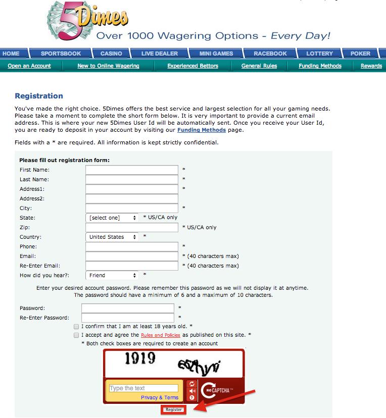 5Dimes Registration