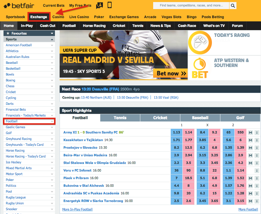 Betfair Exchange Football/Soccer