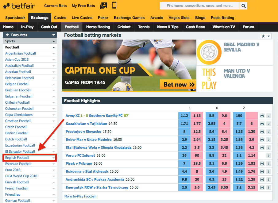 Betfair Exchange English Football