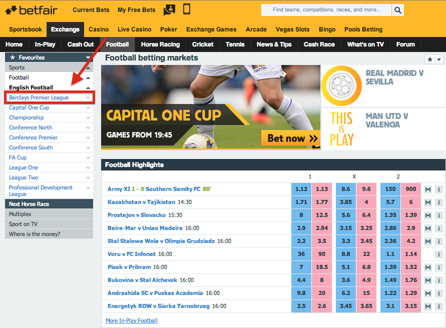 Betfair Exchange Barclays Premier League