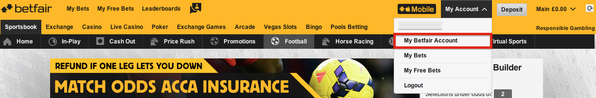 Betfair My Account