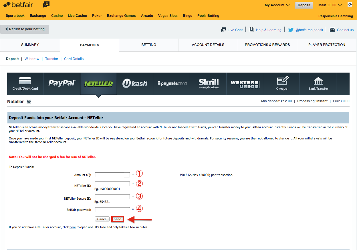 Betfair NETELLER Deposit