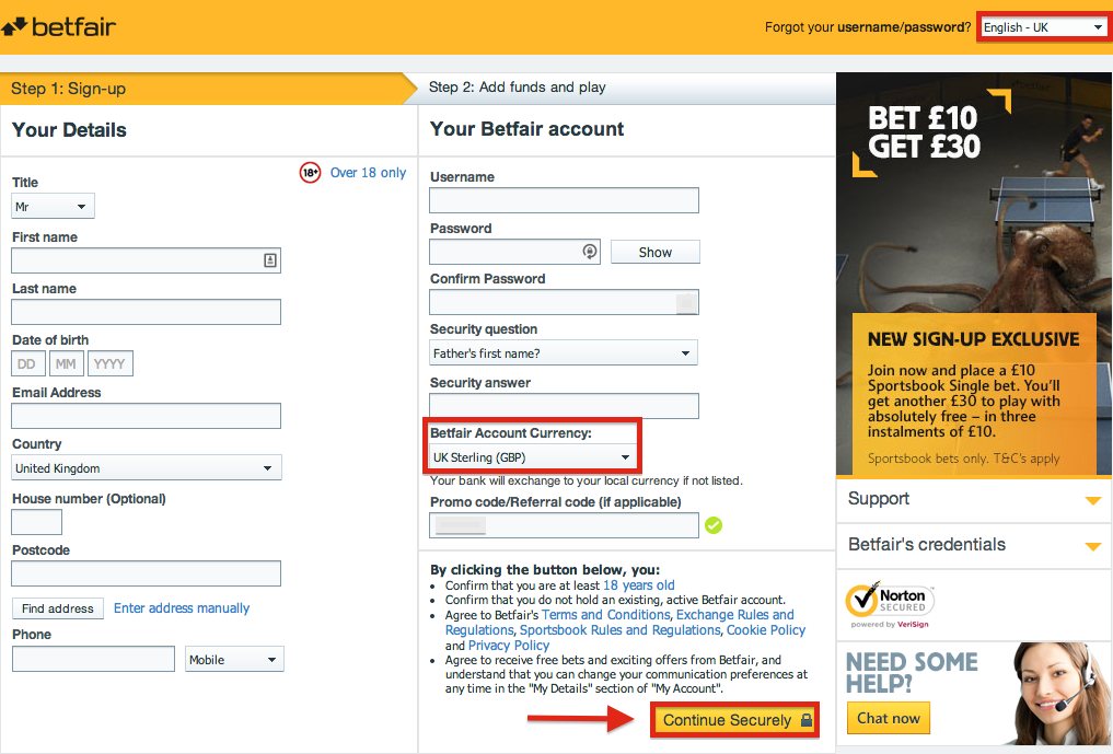 Betfair Registration