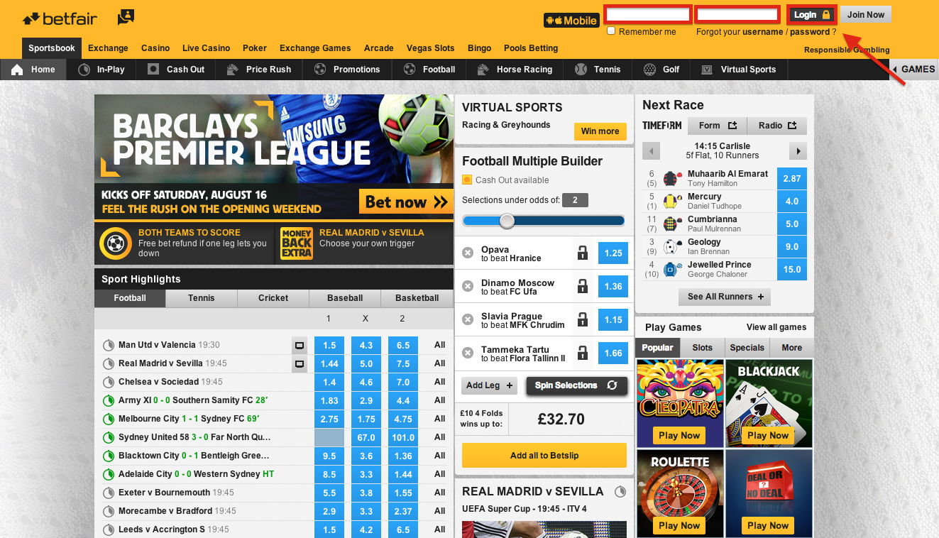 Betfair Login