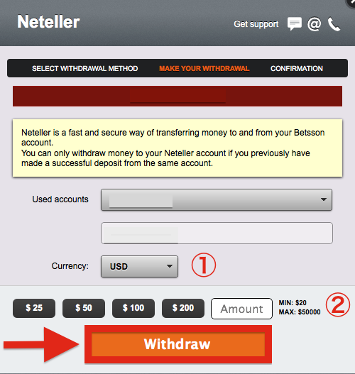 Betsson NETELLER Withdrawal