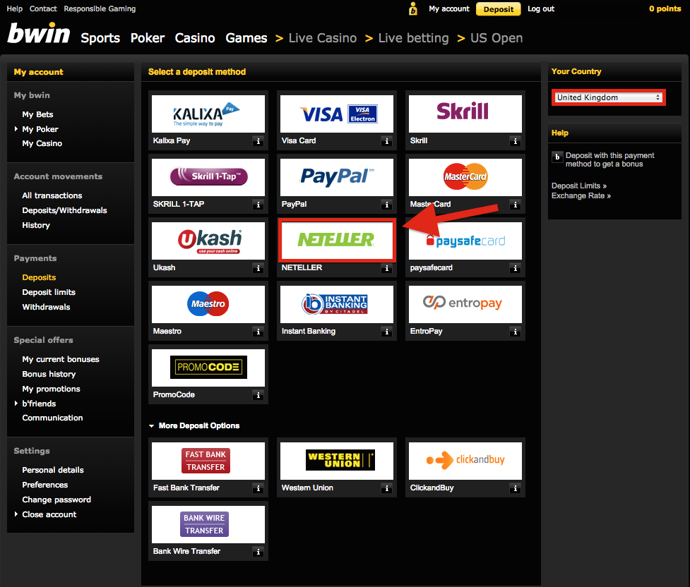 bwin account