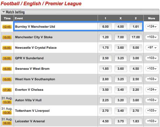 Ladbrokes Match Betting - English Premier League