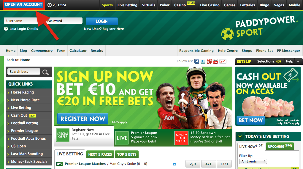 paddy power register