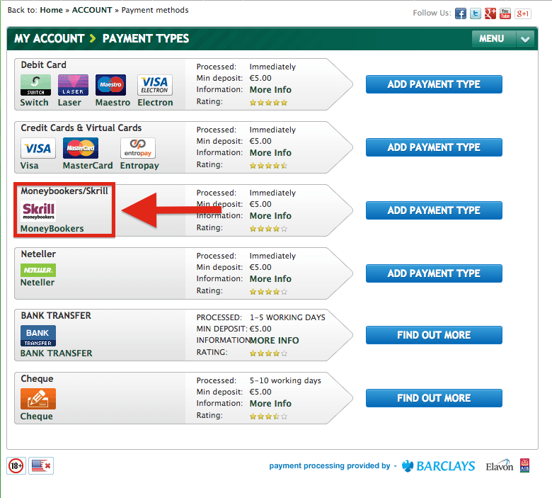 Paddy Power Skrill Deposit