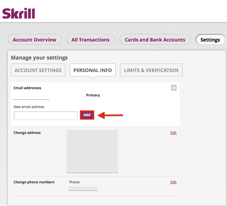Skrill Add Email Address