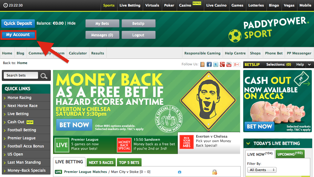 paddy power account
