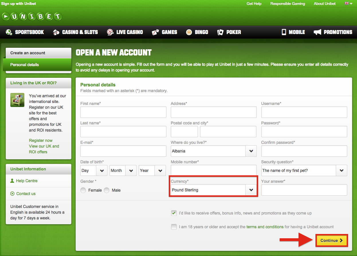 unibet account