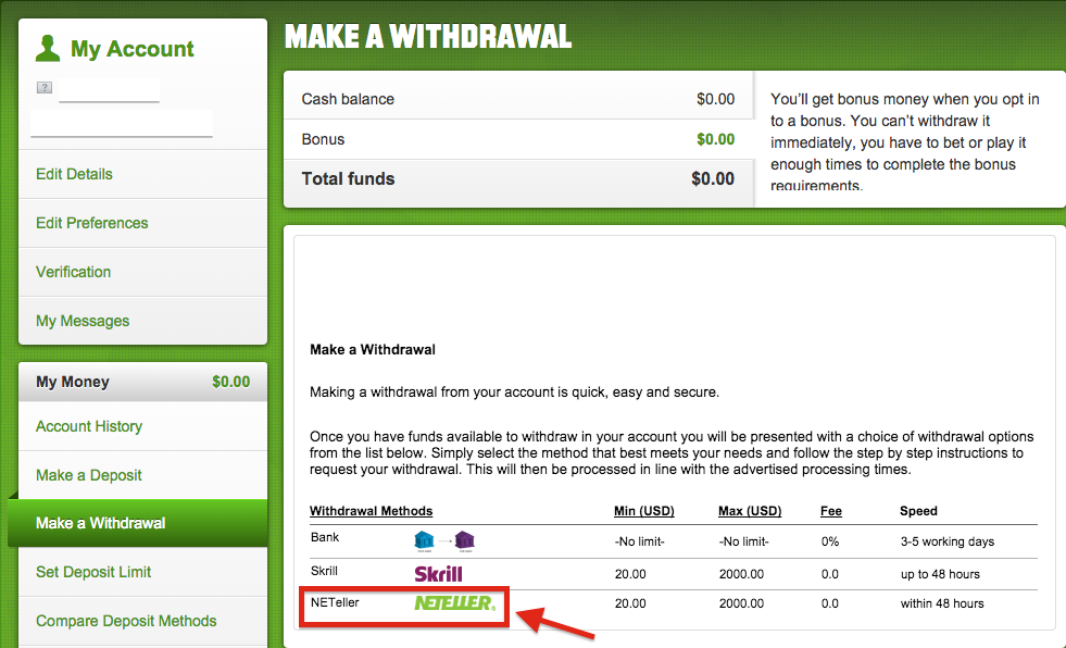 Unibet NETELLER Withdrawal