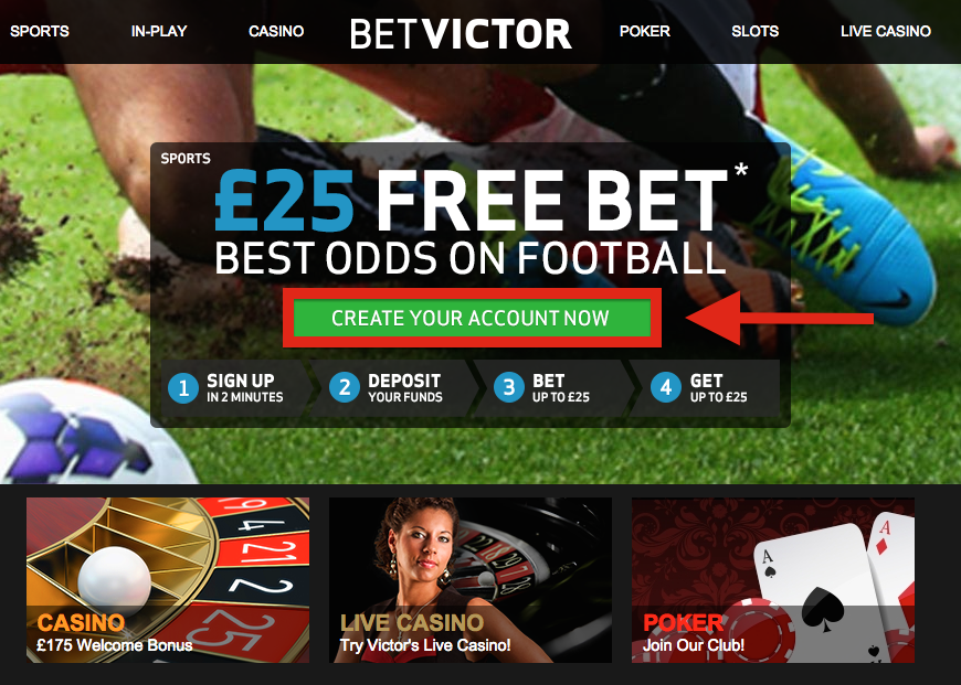 Bet Victor Registration Landing Page
