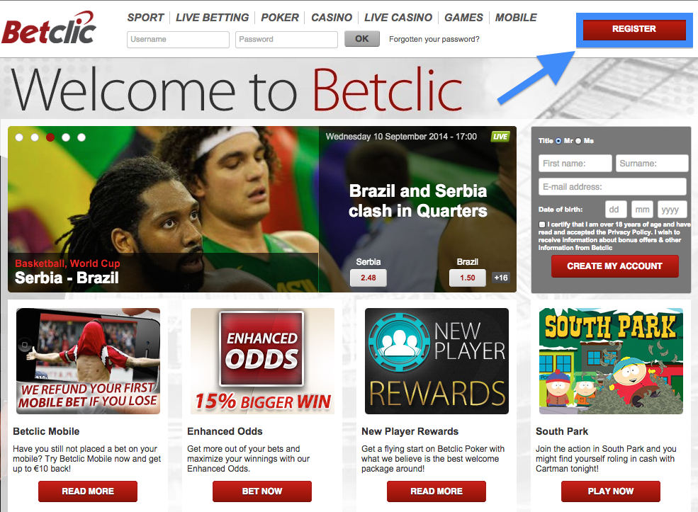 Betclic Registration