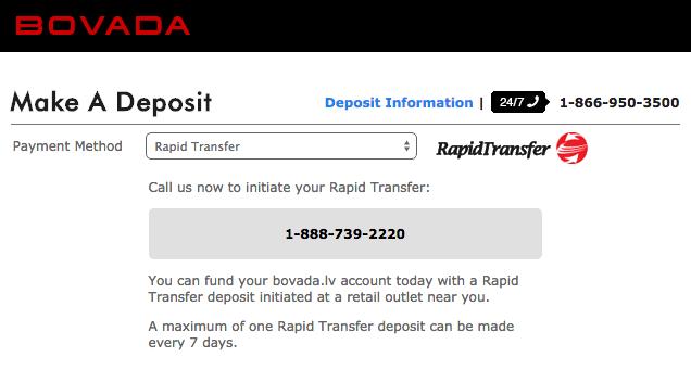 Bovada Rapid Transfer Deposit