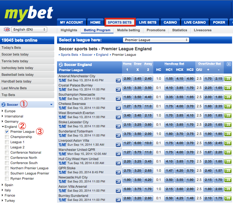 mybet Sports Bets - English Premier League