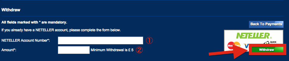 Betfred NETELLER Withdraw