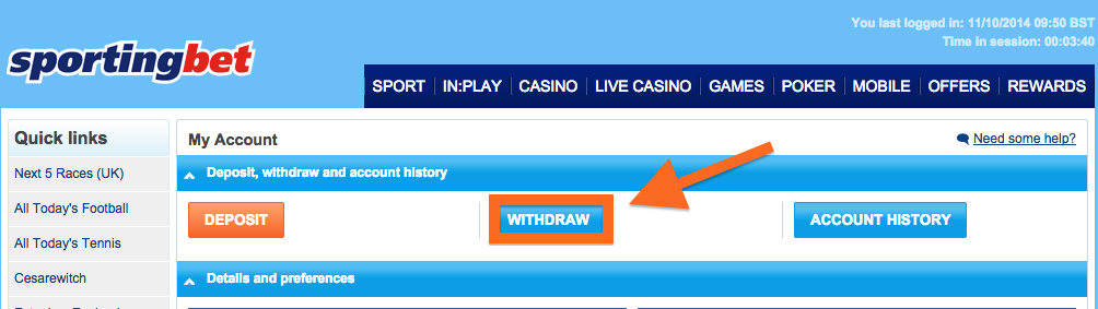 Sportingbet Withdraw