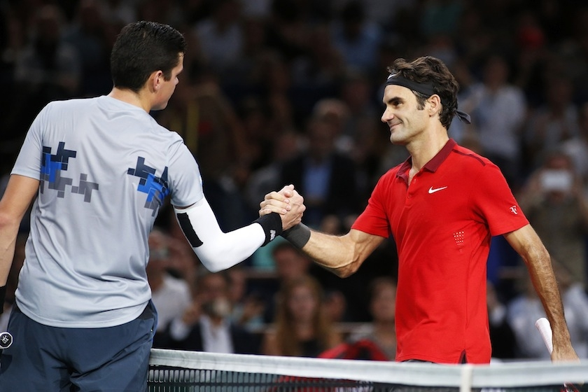 Milos Raonic defeating Roger Federer at the Paris Masters
