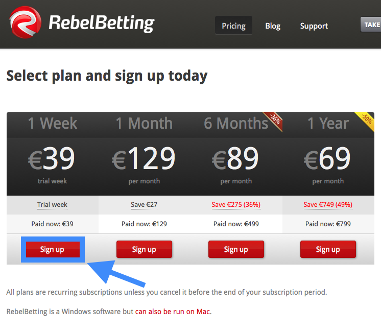 RebelBetting Pricing Plan Sign-Up