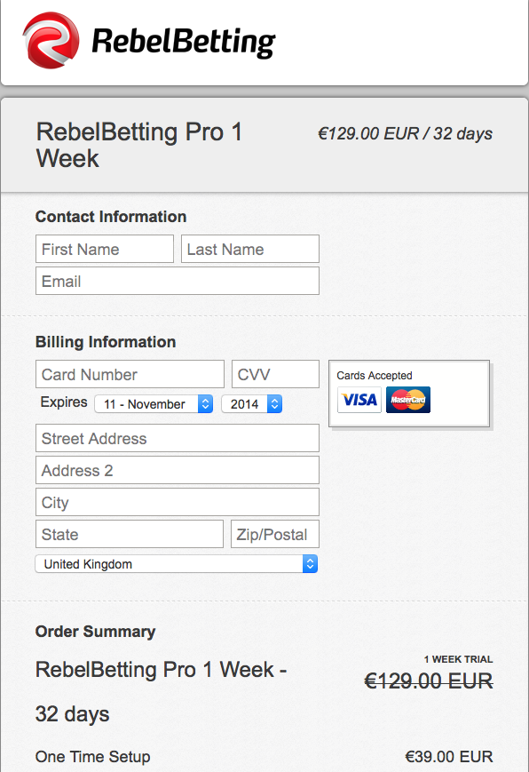 RebelBetting Pro Trial Sign-Up via Credit Card