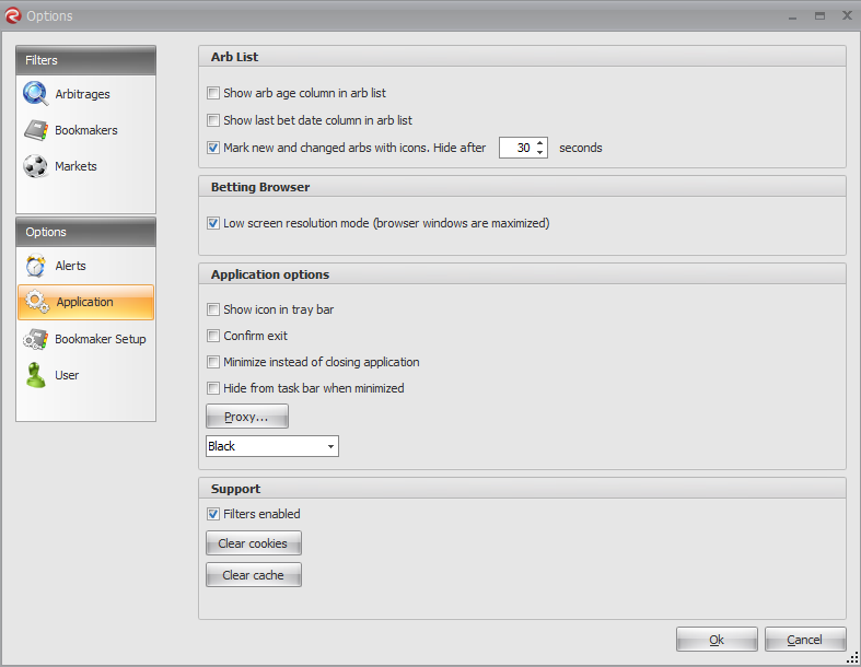 RebelBetting Options Application Setup Screen