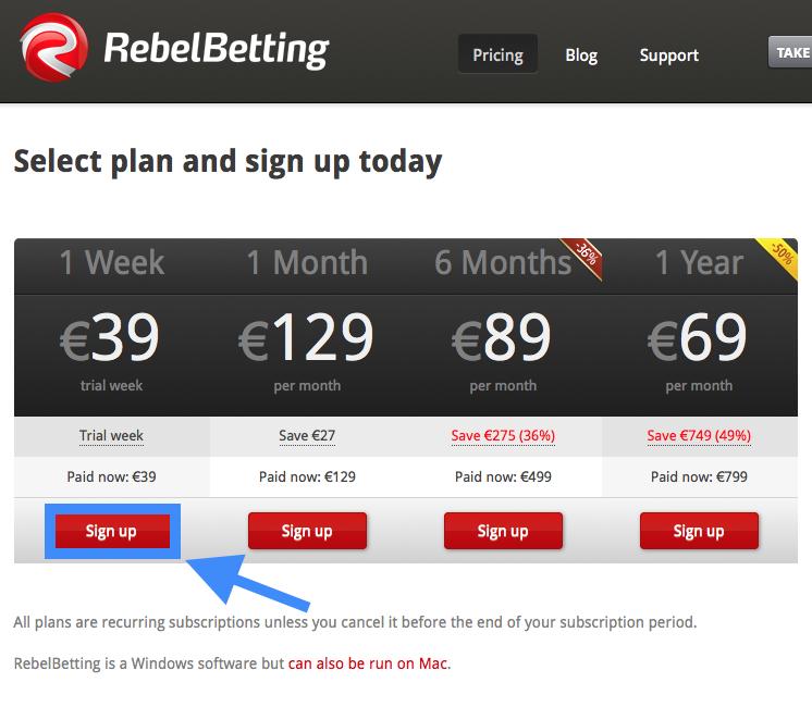 RebelBetting 価格表示画面